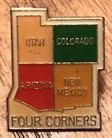 Vintage Four Corners Utah Colorado Arizona New Mexico Lapel Hat Pin Pinback