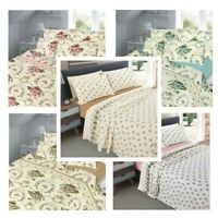 Luxury Flannelette 100% Brushed Cotton FLORAL Sheet Set (Fitted Flat+PillowCase)