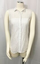 H&M Sleeveless Eyelet Top White Button Front Blouse Shirt size 8