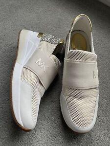 £160 MICHAEL KORS Designer Felix Cream Elastic Slip On Wedge Sneakers UK 5.5
