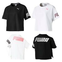 New Puma Women's Crop Short Sleeve T-Shirt Essentials Gym Sports Tee