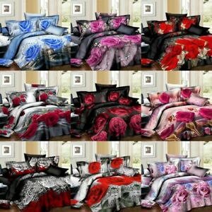 3D Complete Bedding Set Duvet Cover Fitted Sheet with 2 Pillowcases All Sizes