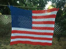 VTG Knitted Crochet Americana American Flag Red White Blue Wall Hanging 32X29