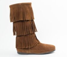 MINNETONKA 3 Fringes Moccasins 1638 Hardsole Brown Suede Women'S  Knee High Boot