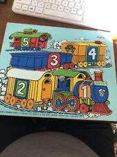 Vintage Playskool SESAME STREET COOKIE'S NUMBER TRAIN Wood Board Puzzle 1974