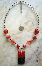 New listing Lamp work art glass necklace dichroic pendant w copper swirls beads 22 in nek001