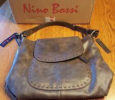 NWT Designer Nino Bossi Mrs Robinson Hobo Leather Shoulder Bag Chocolate Brown