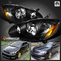 For 2003-2008 Toyota Corolla Replacement Black Headlights Head Lamps Left+Right