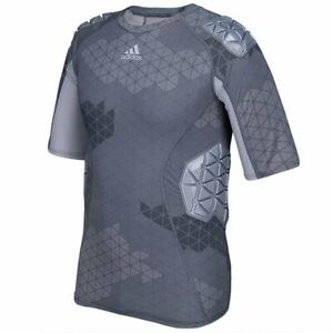 adidas Techfit Ironskin Mens 5 Pad Short Sleeve Football Shirt, Onyx