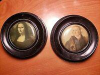Antique Pair Celluloid Portraites Mona Lisa & Thomas Jefferson Round Framed