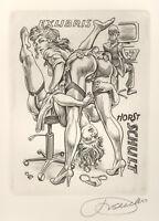 Frank Ivo van DAMME Computer Porn Exlibris Schult Erotic C2 Copper Engraving #85