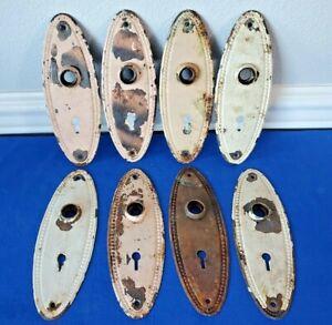8 Antique Vintage Victorian Oval Beaded Back Plates for Doors Knobs Metal Door