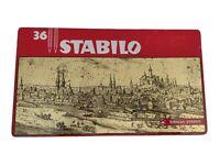 Stabilo Rares Boîte De Étain Métal Vintage Swan De 36 Crayons Originales