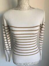 Ivory White Beige Women Jumper Ladies Jumper Size 6-8 Striped Cotton Blend (75)