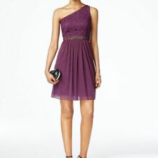 Adrianna Papell One-shoulder Lace & Tulle Short Party Dress, Currant NWT 6