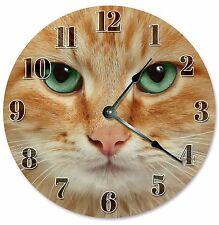 """ORANGE CAT Clock - Large 10.5"""" Wall Clock - 2098"""