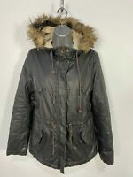 WOMENS H&M UK 8 BROWN CASUAL WAXED LOOK SHERPA LINED PARKA PARKER HOODED COAT