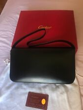 Vintage Cartier Black Leather with Silver Panther Handback