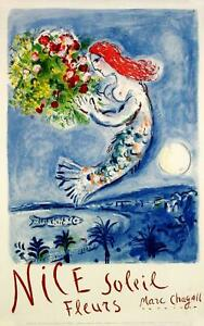 RARE NICE SOLEIL FLEURS BY MARC CHAGALL STONE LITHOGRAPH ORIGINAL ON LINEN 1962