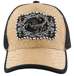 NEW! STRAW MESH METAL SCORPION BALL CAP HAT BLACK