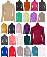 LADIES WOMEN LONG SLEEVE POLO TURTLE ROLL NECK PLAIN TOP 26 COLOURS SIZE 8-26