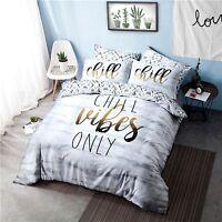 Chill Vibes Slogan Duvet Quilt Print Reversible Set Cover & Pillow Case bedding