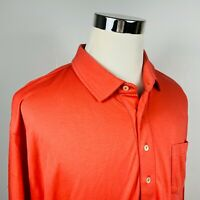 Peter Millar Mens 2XL Luxury Golf Pocket Polo Shirt Soft Red Coral 100% Cotton