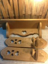 Homco Burwood Faux Wood Wall Shelf 2767 & Candle Sconce Pair 2766 Heart 1986 Vtg