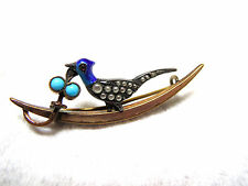 Victorian Ca 1880 Brooch Bird Motif Turquoise Enamel Pearls Gold Filled Sterling