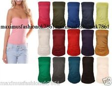 New Ladies Plain Strapless Sleeveless Ruched Boob Tube Women Bandeau Top 8 - 26