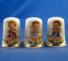 Birchcroft Thimbles -- Set of Three -- Girls Knitting on a Bench