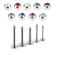 2 PC 16G CZ Gem Steel Labret Helix Tragus Lip Chin Piercing Monroe Ear Stud Ring