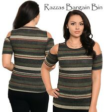 New Ladies Charcoal Knited Stripped Top Plus Size 14/1XL (1090)OS