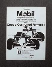 H740- Advertising Pubblicità -1981- LUBRIFICANTI MOBIL , COPPA COSTRUTTORI F.1