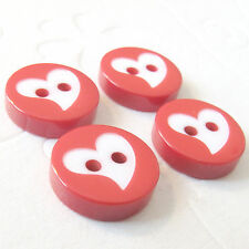"US SELLER - 60 pcs x 1/2"" 2-Hole Rounded Plastic Buttons w/Valentine Heart SB535"