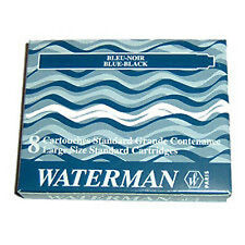 Waterman Fountain Pen Ink Cartridges Blue Black x 16