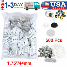 "New 500 Pcs 1.75""/44mm Diy Pin Button Badge Parts for Punch Press Machine Us"