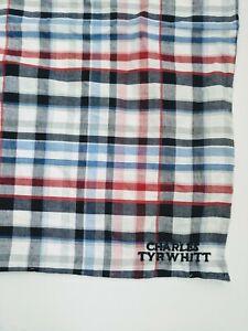 Charles Tyrwhitt Blue/Red Stripes Square Pocket Handkerchief