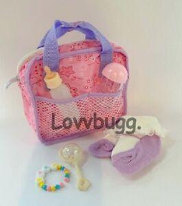 Lovvbugg Diaper Bag 6pc Set for Bitty Baby Born Reborn MA More AMERICAN SLR 🐞