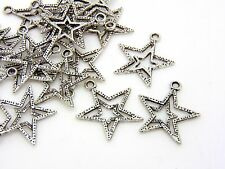 20 Pcs - 22mm Tibetan Silver Double Star Charms Pendant Craft Christmas  H181