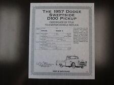 Danbury Mint Paperwork 1957 Dodge Sweptside D100 Pickup