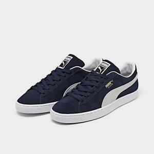 PUMA SUEDE CLASSIC 21 CASUAL MEN'S SHOE BLUE - WHITE AUTHENTIC BRAND NEW US SIZE