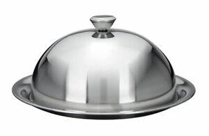 Speise Glocke mit Servier Teller - 2 Größen - Edelstahl Käse Haube rund silber