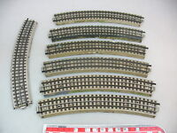 AP654-1# 7x Märklin H0/00/AC M-Gleise gebogen/ großer Radius (5200/3600/800)