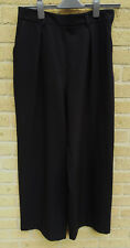 Women's ASOS Work Trousers Black Wide Leg Tailored Stretch Size 12