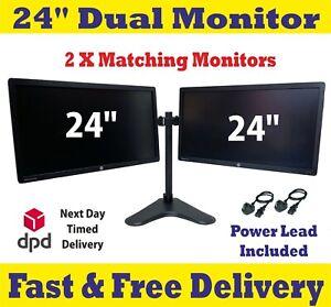 "2 x ViewSonic Dell Lenovo HP 24""-Dual Screen Cheap Gaming LED PC Monitor VGA DVI"