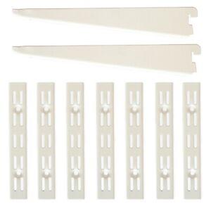 Twin Slot Shelving System White Brackets Uprights Metal Adjustable Racking
