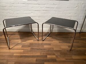 Thonet Paar Beistelltische Stahlrohr Tisch Bauhaus  Nachttische Breuer Design