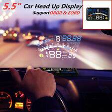 Car HUD Head Up Display Digital Speeding Warning System Fuel Engine 5.5'' OBII
