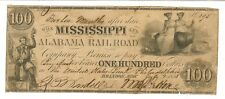 A Rare 1838 $100 Mississippi & Alabama Railroad Co. Obsolete Currency - Brandon